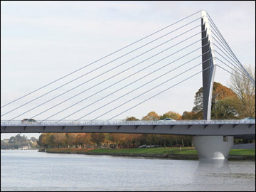 Photomontage showing a 3d model of Bridge on the river Lee by Wilkinson Eyre Architects