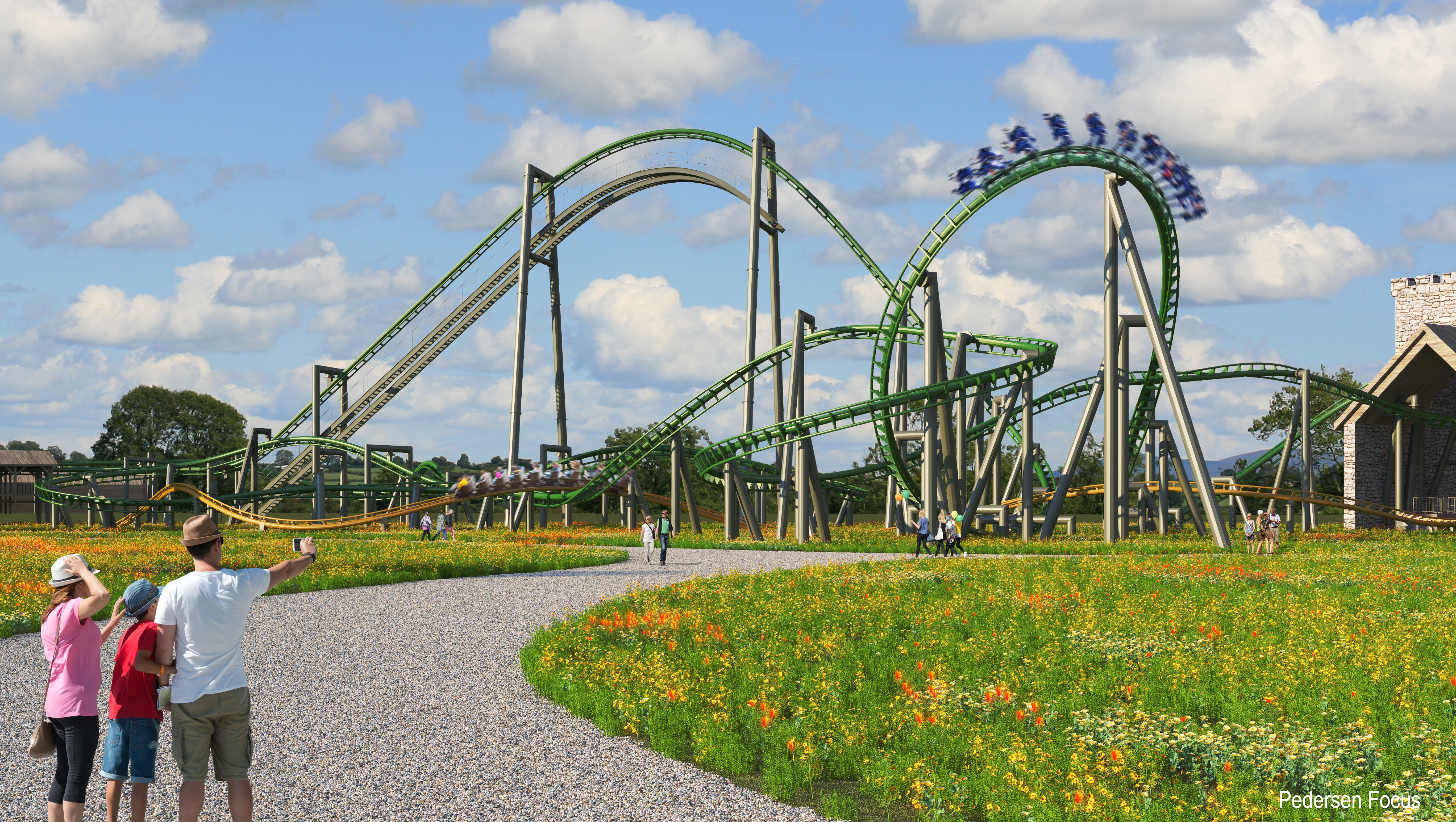3d artist's impression of Tayto Park Rollercoaster